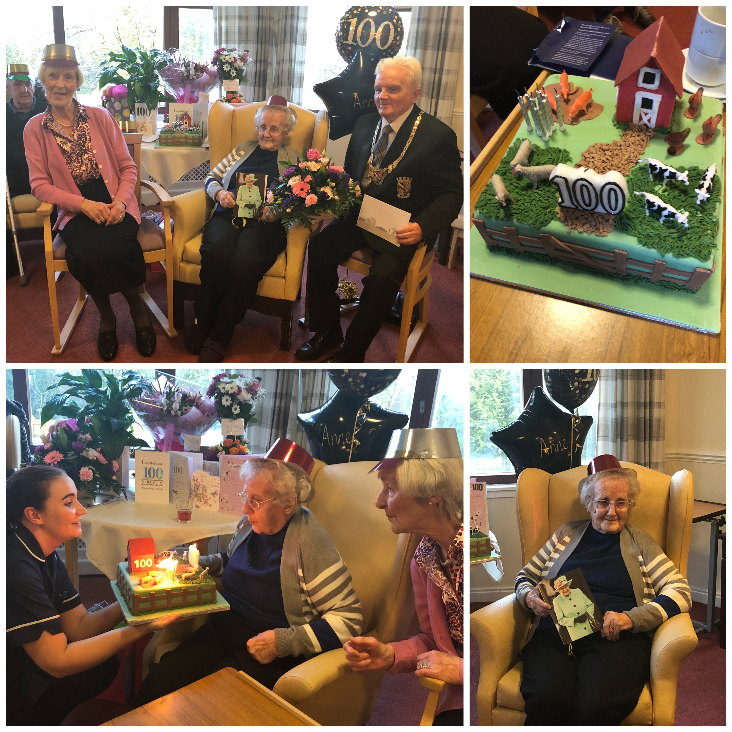 Wallside Grange Care Home resident Anne Whyte celebrates her 100th Birthday with a card from the Her Majesty The Queen.