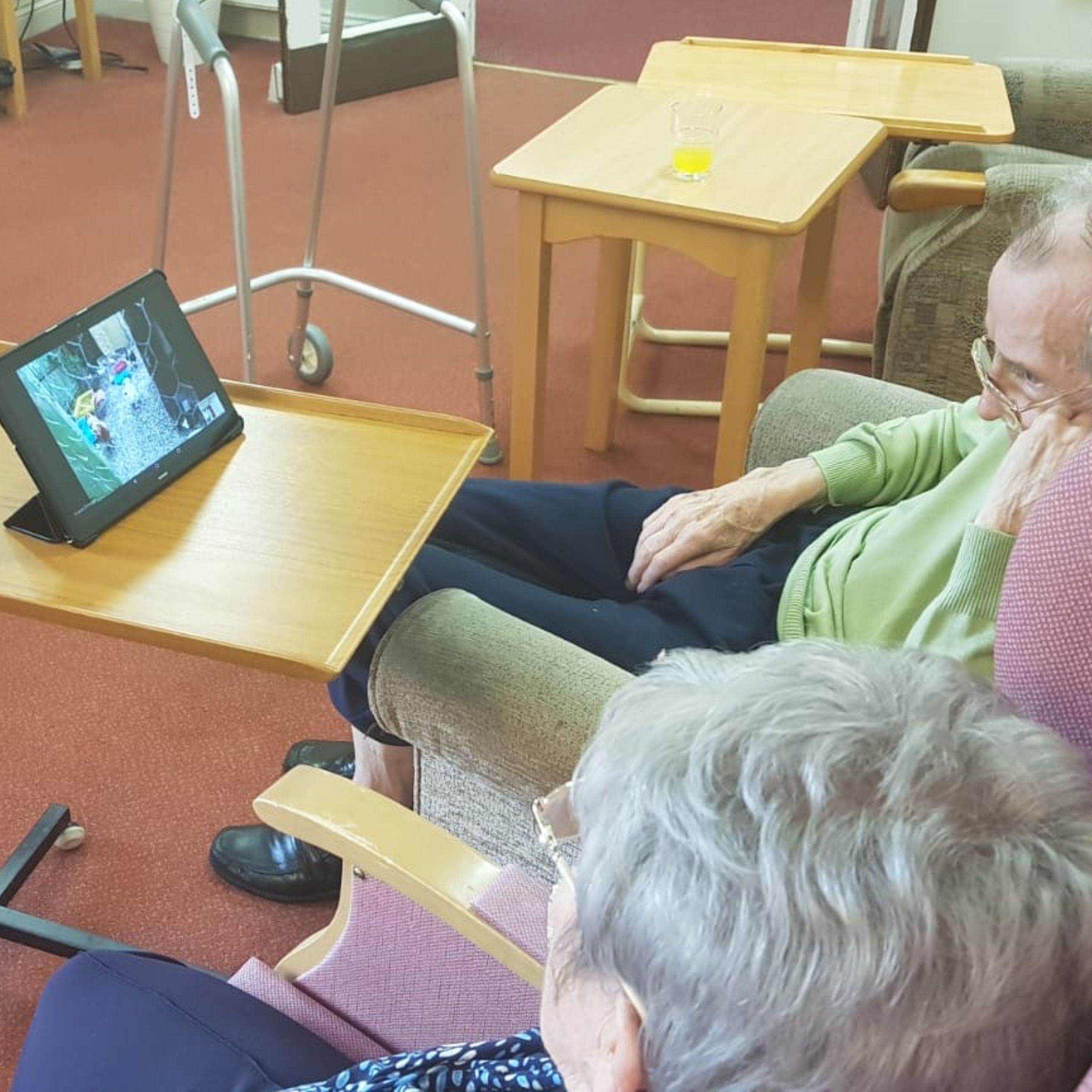 Residents at Wallside Grange Care Home in Falkirk enjoying a pet therapy session via Zoom.
